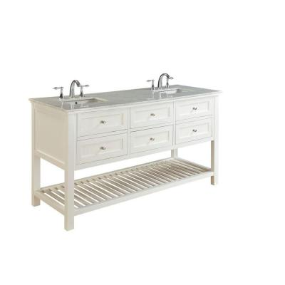 DIRECT VANITY SINK 70D6-WWC MISSION SPA 70 INCH WHITE VANITY WITH CARRERA MARBLE TOP