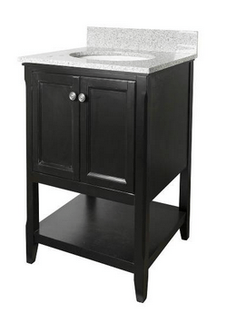 Foremost AUBV2422 Auguste  Black Finish Collection 24 Inch Assembled Vanity