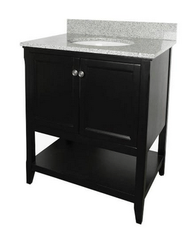 Foremost AUBV3022 Auguste  Black Finish Collection 30 Inch Assembled Vanity