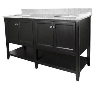 Foremost AUBV6022 Auguste  Black Finish Collection 60 Inch Assembled Vanity