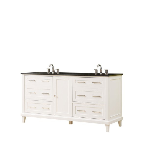 DIRECT VANITY SINK 6070D14-WBK WINSLOW 70 INCH VANITY IN WHITE WITH GRANITE VANITY TOP IN BLACK WITH BASIN