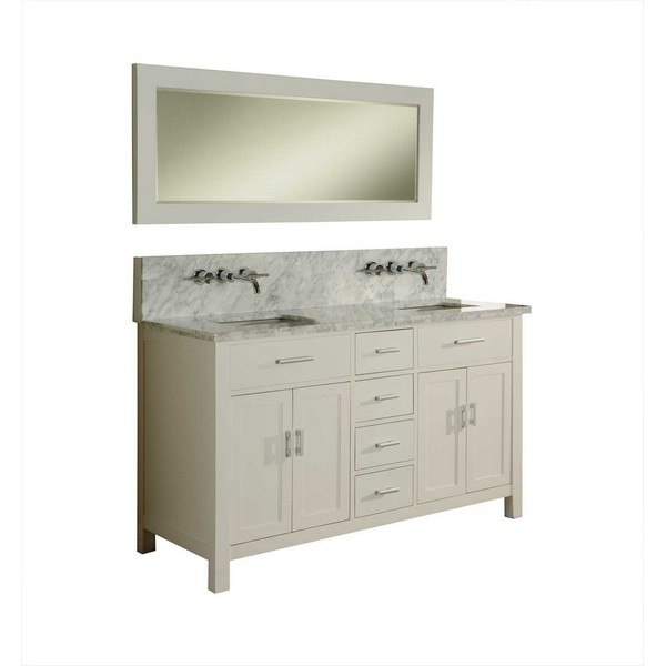 DIRECT VANITY SINK 63D7-WWC SUTTON SPA PREMIUM DOUBLE 63 INCH PEARL WHITE VANITY CARRARA WHITE TOP AND MIRROR