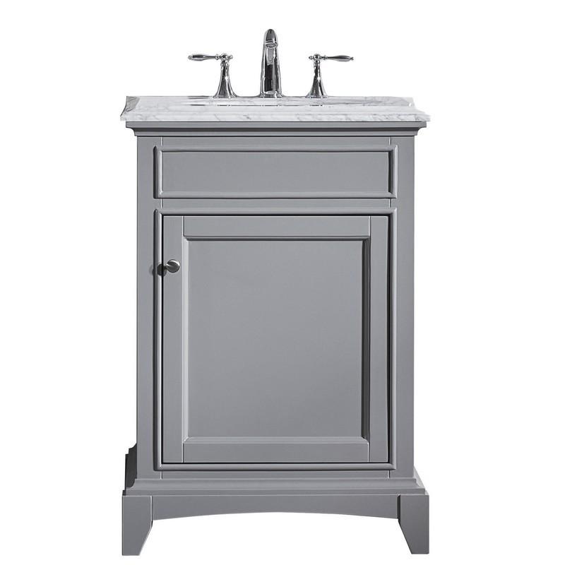 Eviva Evvn709 24gr Elite Stamford 24 Inch Gray Solid Wood Bathroom Vanity Set With Double Og White Carrera Marble Top