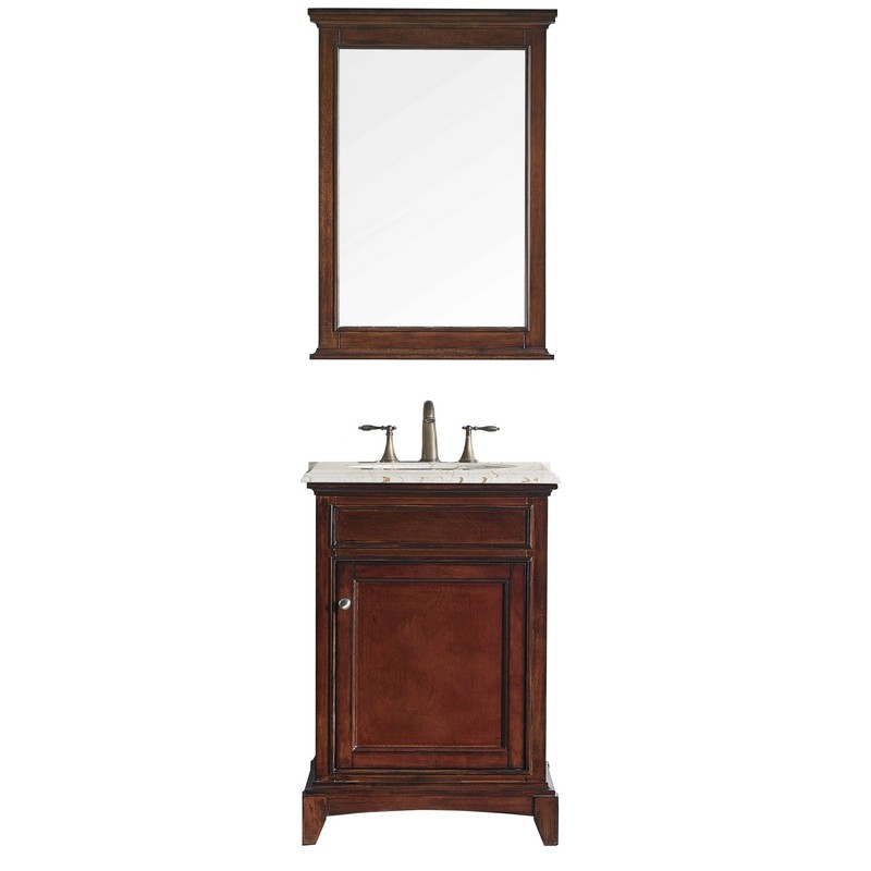Eviva Evvn709 24tk Elite Stamford 24 Inch Brown Solid Wood Bathroom Vanity Set With Double Og Crema Marfil Marble Top And White Undermount Porcelain