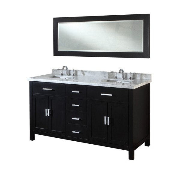 DIRECT VANITY SINK 63D7-EWC-NOWM SUTTON SPA 63 INCH EBONY VANITY WITH WHITE CARRERA MARBLE TOP AND MIRROR