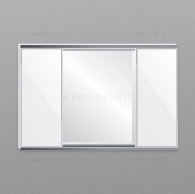 Robern BIC4838 C Series 48 Inch Two Flat Beveled Mirrored Doors w/ Inset Mirror In Center