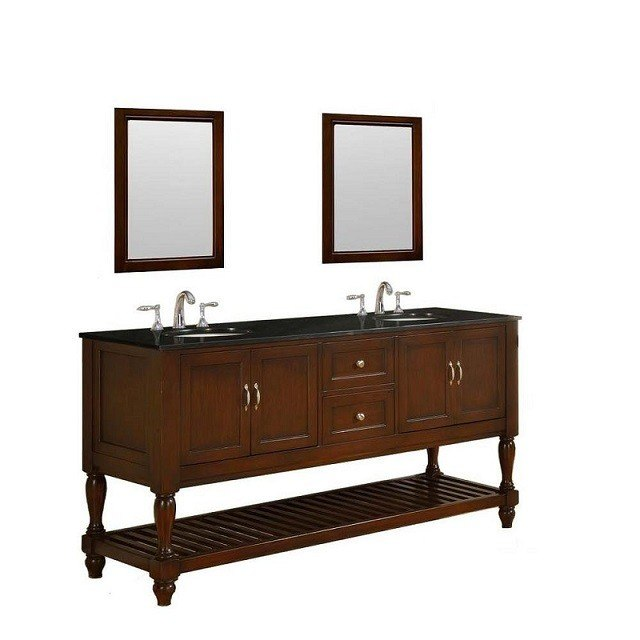 DIRECT VANITY SINK 6070D10-ESBK-2M MISSION TURNLEG 70 INCH DARK BROWN VANITY WITH BLACK GRANITE TOP AND MIRRORS