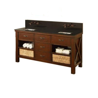 DIRECT VANITY SINK 70D1-ESBK-WM XTRAORDINARY SPA PREMIUM 70 INCH DARK BROWN VANITY WITH BLACK GRANITE TOP