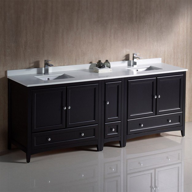 FRESCA FCB20-361236ES-CWH-U OXFORD 84 INCH ESPRESSO TRADITIONAL DOUBLE SINK BATHROOM CABINETS WITH TOP AND SINKS