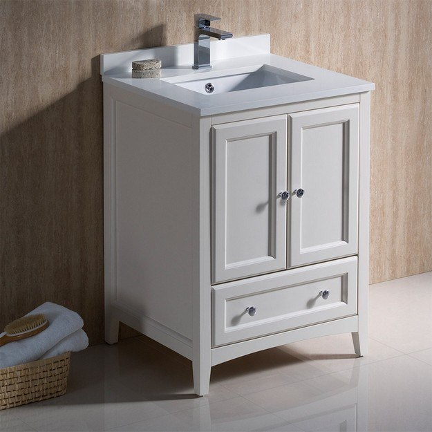 FRESCA FCB2024AW-CWH-U OXFORD 24 INCH ANTIQUE WHITE TRADITIONAL BATHROOM CABINET WITH TOP AND SINKS