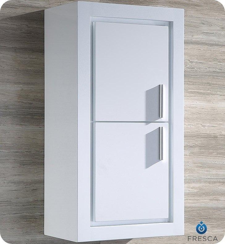 FRESCA FST8140WH ALLIER WHITE BATHROOM LINEN SIDE CABINET W/ 2 DOORS