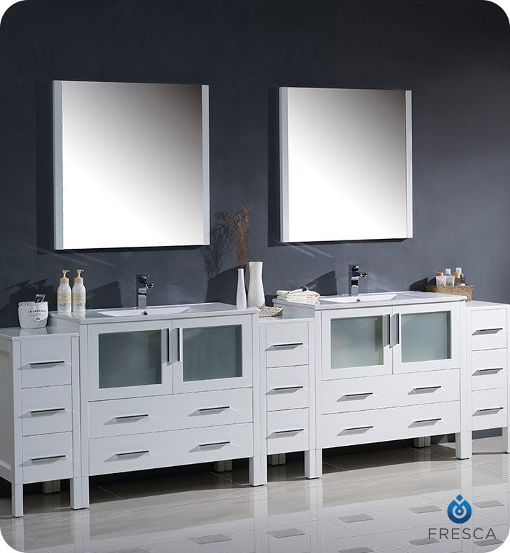 FRESCA FVN62-108WH-UNS TORINO 108 INCH WHITE MODERN DOUBLE SINK BATHROOM VANITY WITH 3 SIDE CABINETS AND INTEGRATED SINKS