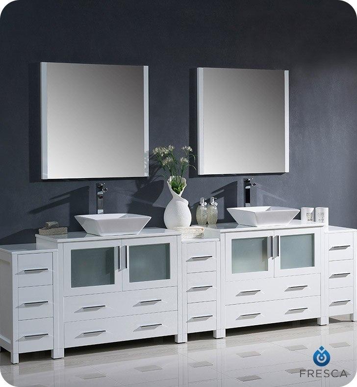 Fvn62 108wh Vsl Torino 108 Inch White Modern Double Sink Bathroom Vanity W 3 Side Cabinets Vessel Sinks