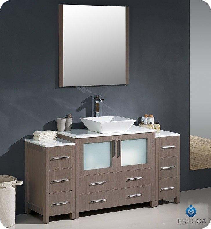 FRESCA FVN62-123612GO-VSL TORINO 60 INCH GRAY OAK MODERN BATHROOM VANITY WITH 2 SIDE CABINETS AND VESSEL SINK