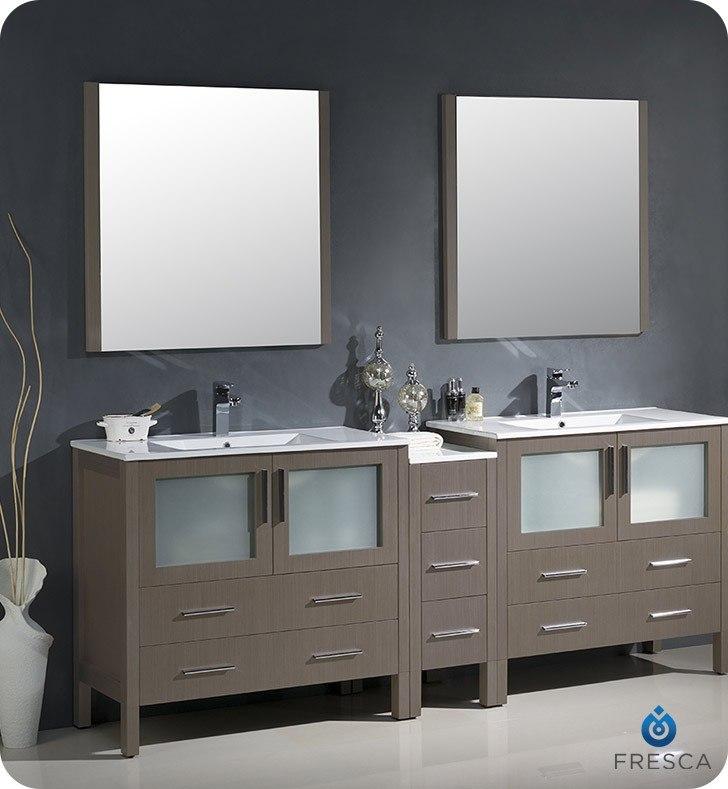 Fresca Fvn62 361236go Uns Torino 84 Inch Gray Oak Modern Double Sink Bathroom Vanity W Side