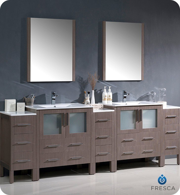 FRESCA FVN62-96GO-UNS TORINO 96 INCH GRAY OAK MODERN DOUBLE SINK BATHROOM VANITY WITH 3 SIDE CABINETS AND INTEGRATED SINKS