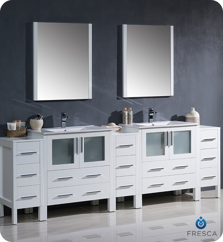 Fvn62 96wh Uns Torino 96 Inch White Modern Double Sink Bathroom Vanity W 3 Side Cabinets Integrated Sinks