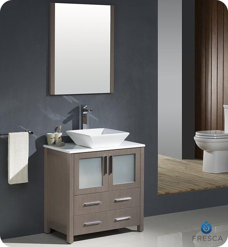 FRESCA FVN6230GO-VSL TORINO 30 INCH GRAY OAK MODERN BATHROOM VANITY WITH VESSEL SINK