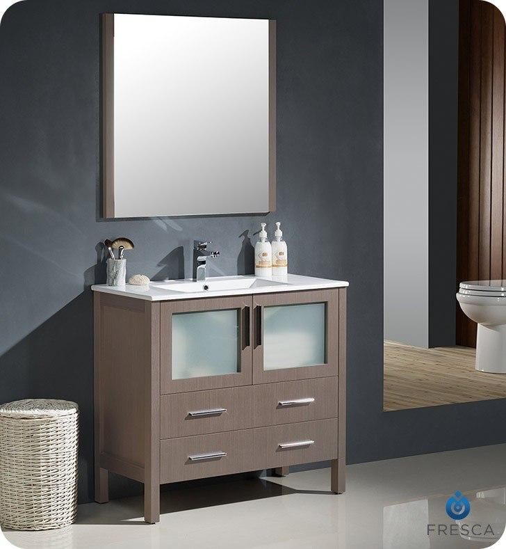 FRESCA FVN6236GO-UNS TORINO 36 INCH GRAY OAK MODERN BATHROOM VANITY WITH INTEGRATED SINK