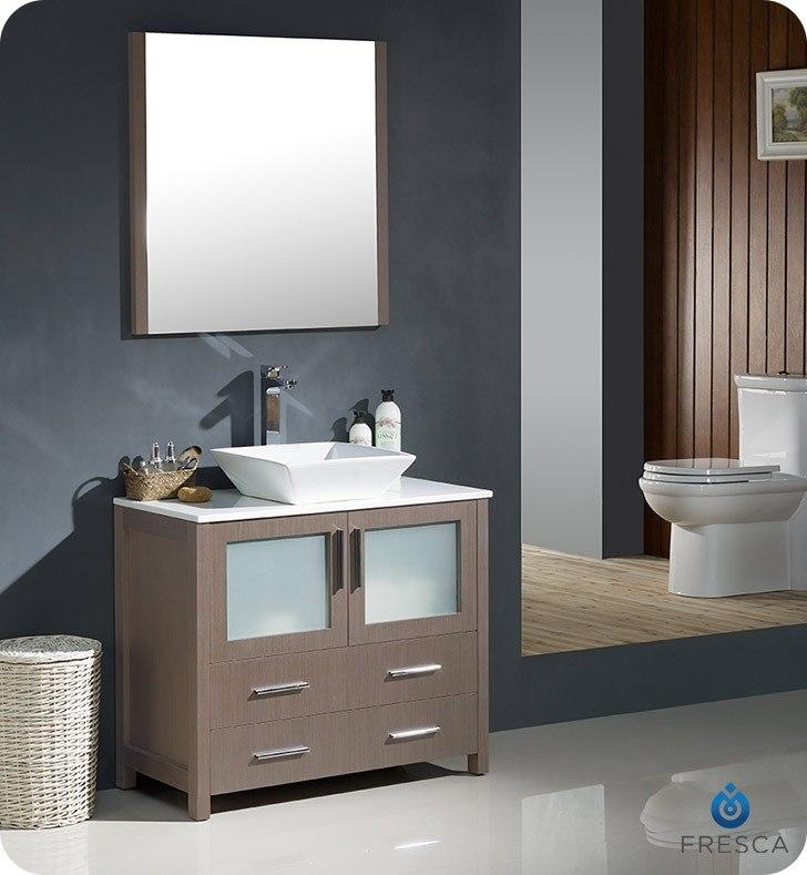 FRESCA FVN6236GO-VSL TORINO 36 INCH GRAY OAK MODERN BATHROOM VANITY WITH VESSEL SINK