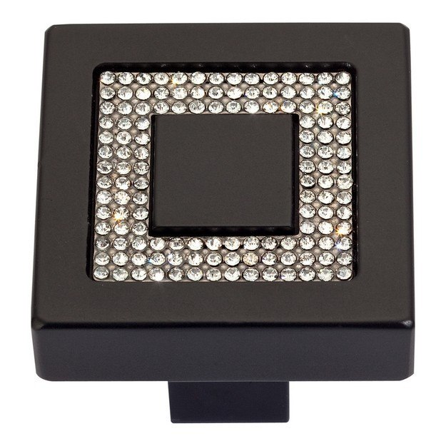ATLAS 3192 BOUTIQUE CRYSTAL COLLECTION 1.4 INCH SQUARE INSET CRYSTAL KNOB