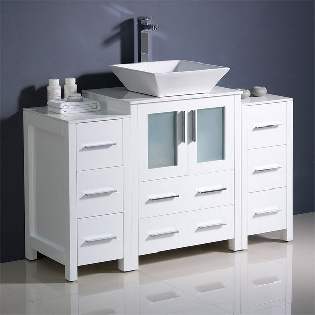 FRESCA FCB62-122412WH-CWH-V TORINO 48 INCH WHITE MODERN BATHROOM CABINETS WITH TOP AND VESSEL SINK