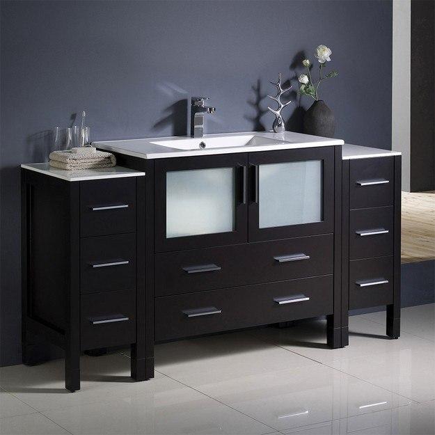 FRESCA FCB62-123612ES-I TORINO 60 INCH ESPRESSO MODERN BATHROOM CABINETS WITH INTEGRATED SINK