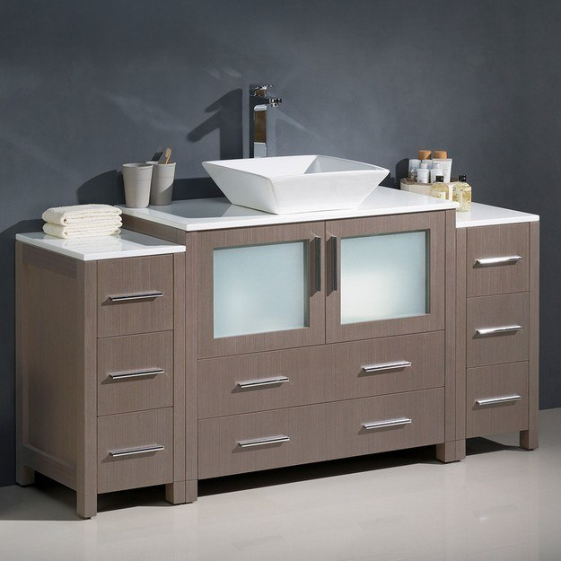 FRESCA FCB62-123612GO-CWH-V TORINO 60 INCH GRAY OAK MODERN BATHROOM CABINETS WITH TOP AND VESSEL SINK