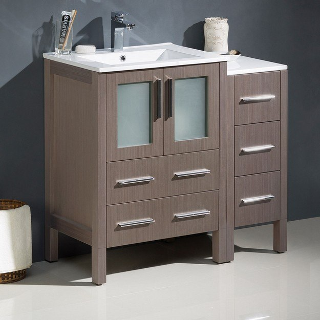 FRESCA FCB62-2412GO-I TORINO 36 INCH GRAY OAK MODERN BATHROOM CABINETS WITH INTEGRATED SINKS