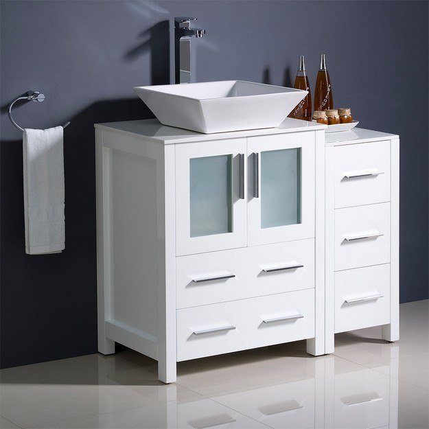 FRESCA FCB62-2412WH-CWH-V TORINO 36 INCH WHITE MODERN BATHROOM CABINETS WITH TOP AND VESSEL SINK
