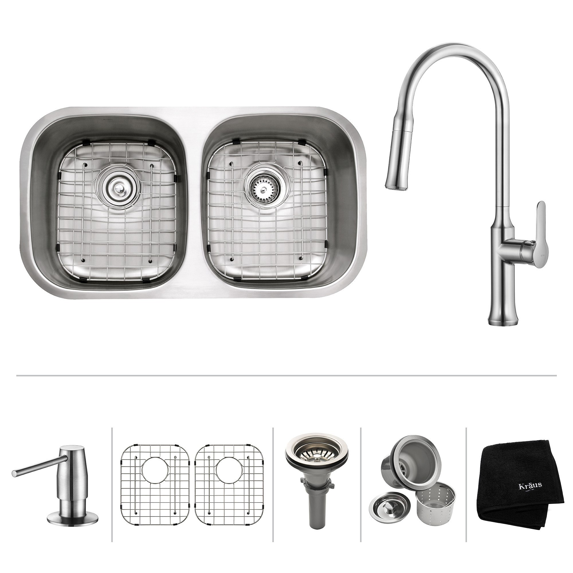 Kraus KBU22-1630-42 32 Inch Undermount 50/50 Double Bowl Stainless Steel Sink with Pull Down Faucet
