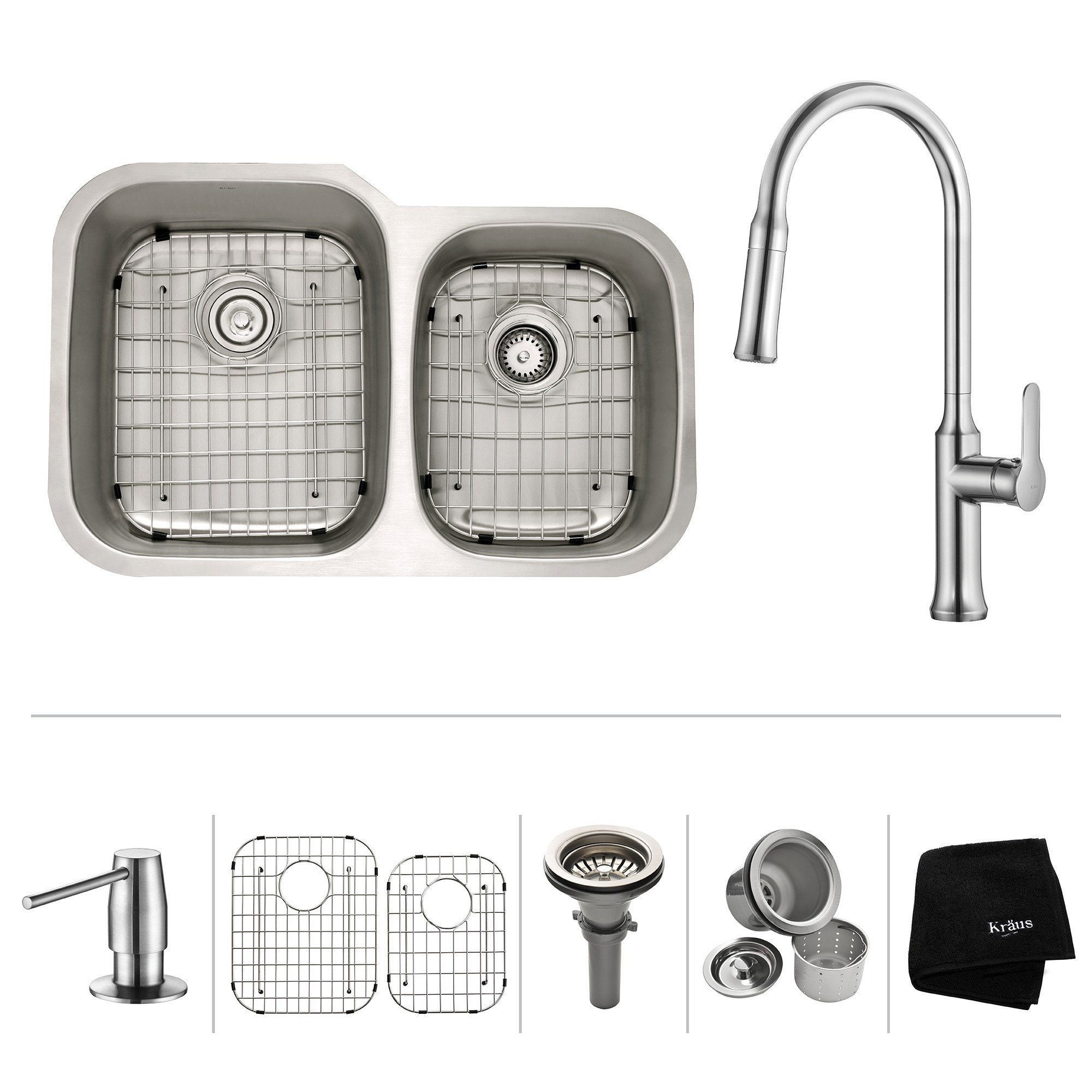 Kraus KBU24-1630-42 32 Inch Undermount 60/40 Double Bowl Stainless Steel Sink with Pull Down Faucet