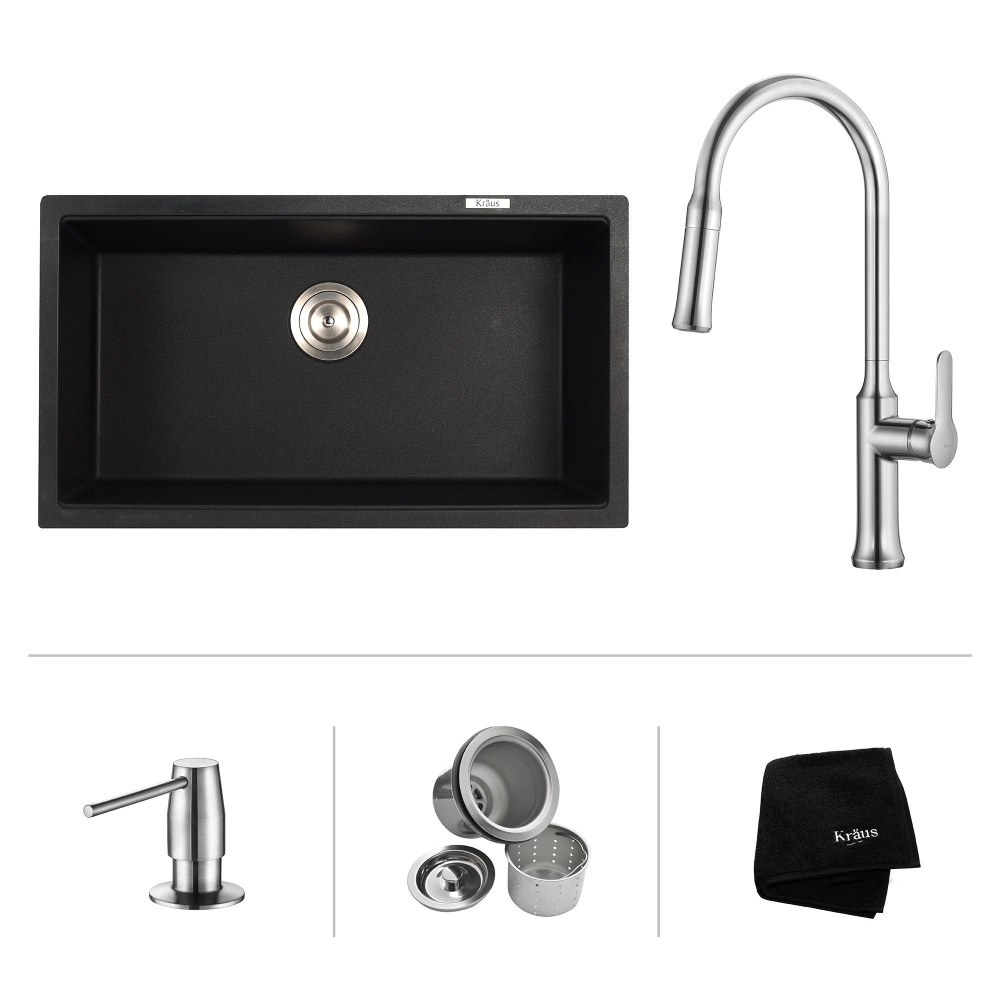 Kraus KGU-413B-1630-42 31 Inch Undermount Single Bowl Sink with Pull Down Faucet & Soap Dispenser