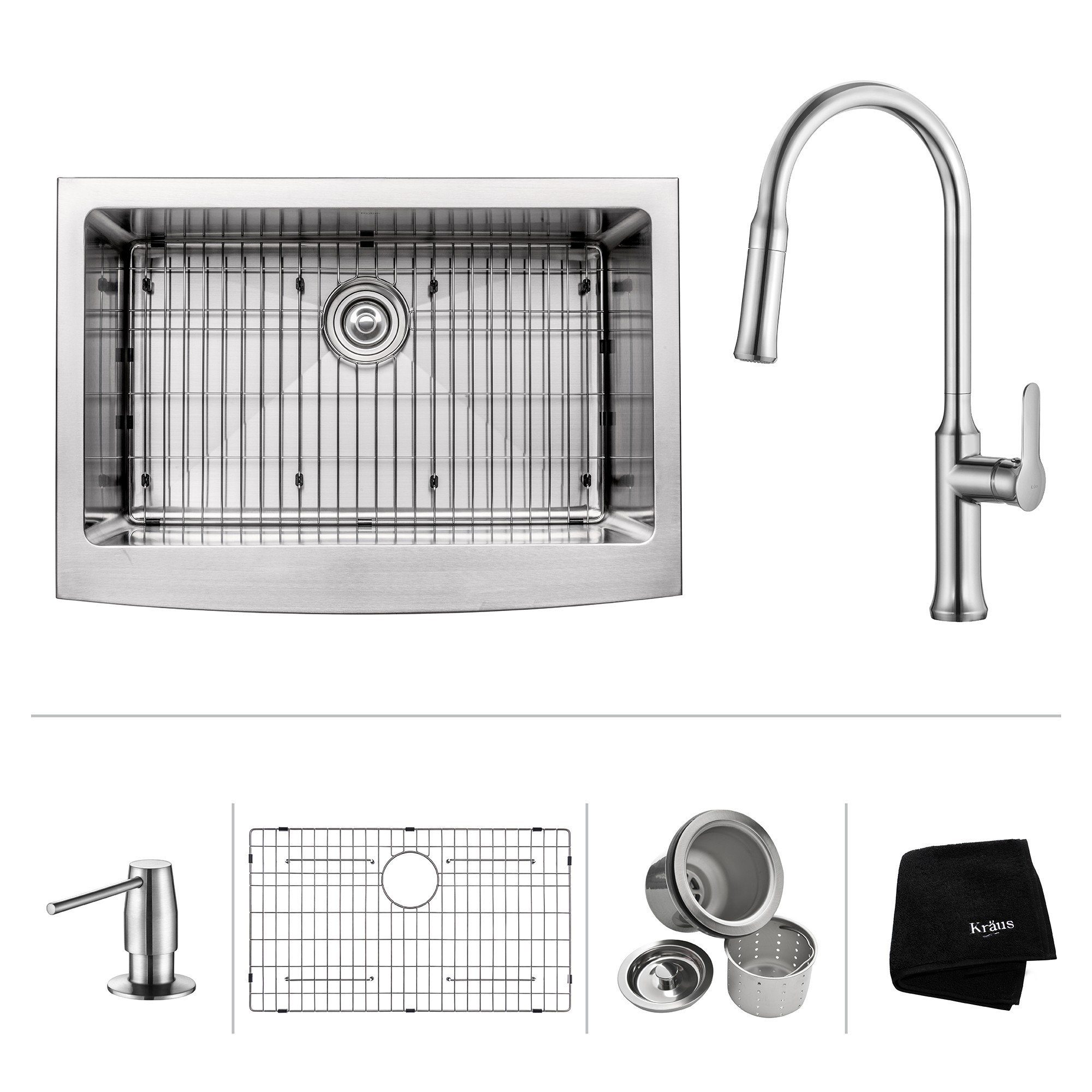Kraus KHF200-30-1630-42 30 Inch Apron Front Single Bowl Stainless Steel Sink with Pull Down Faucet & Soap Dispenser