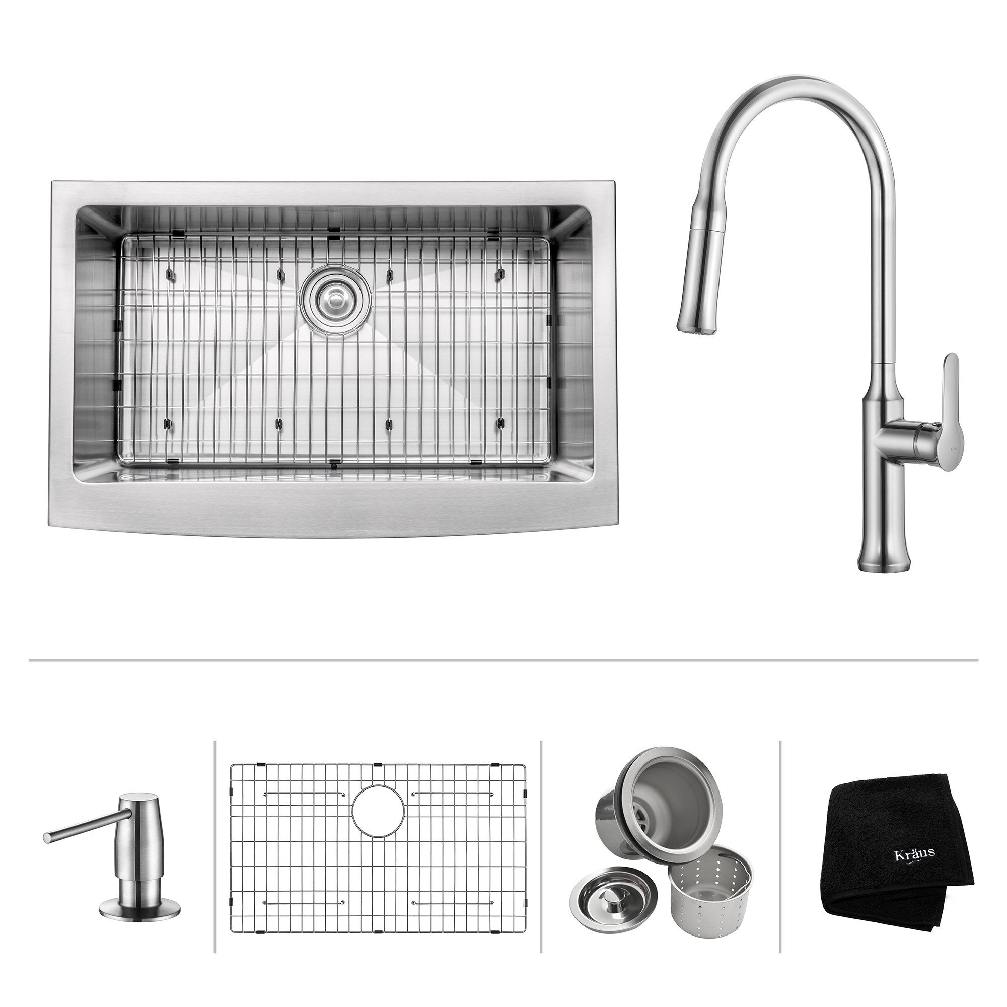 Kraus KHF200-33-1630-42 33 Inch Apron Front Single Bowl Stainless Steel Sink with Pull Down Faucet & Soap Dispenser