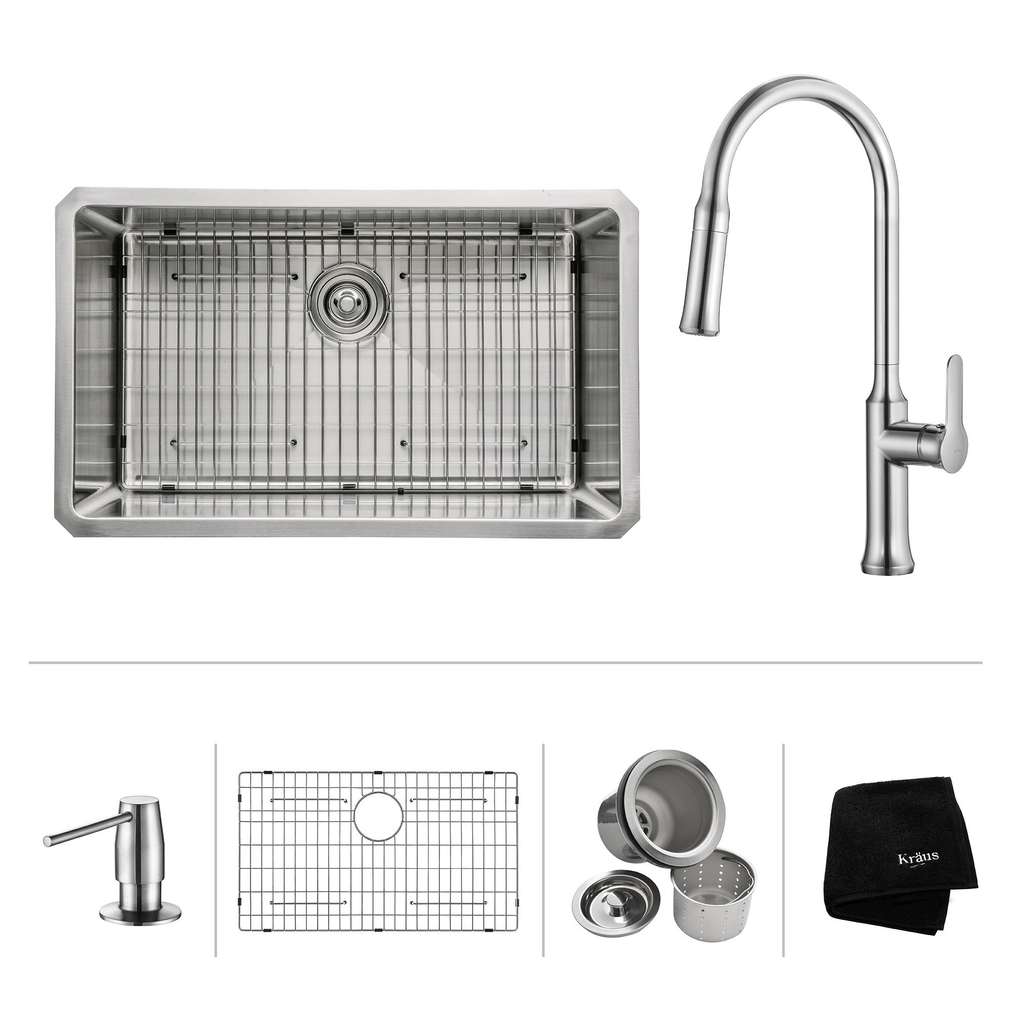 Kraus KHU100-30-1630-42 30 Inch Undermount Single Bowl Stainless Steel Sink with Pull Down Faucet & Soap Dispenser