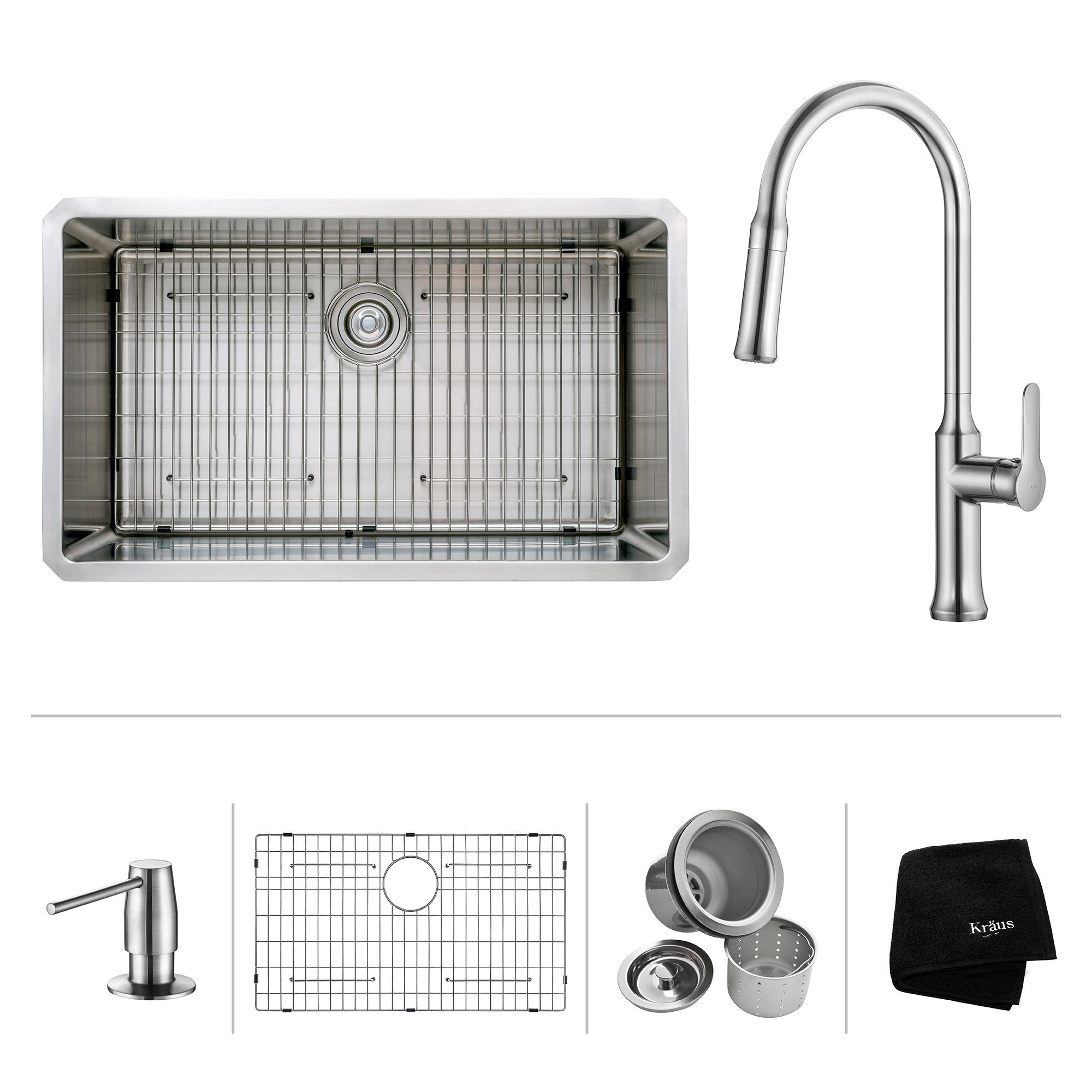 Kraus KHU100-32-1630-42 32 Inch Undermount Single Bowl Stainless Steel Sink with Pull Down Faucet & Soap Dispenser
