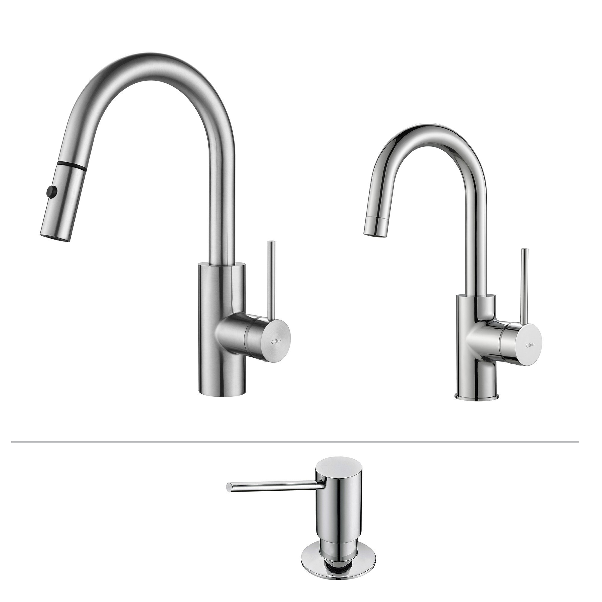 Kraus KPF-2620-2600-41 Mateo Pull Down Kitchen Faucet with Bar/Prep Faucet & Soap Dispenser