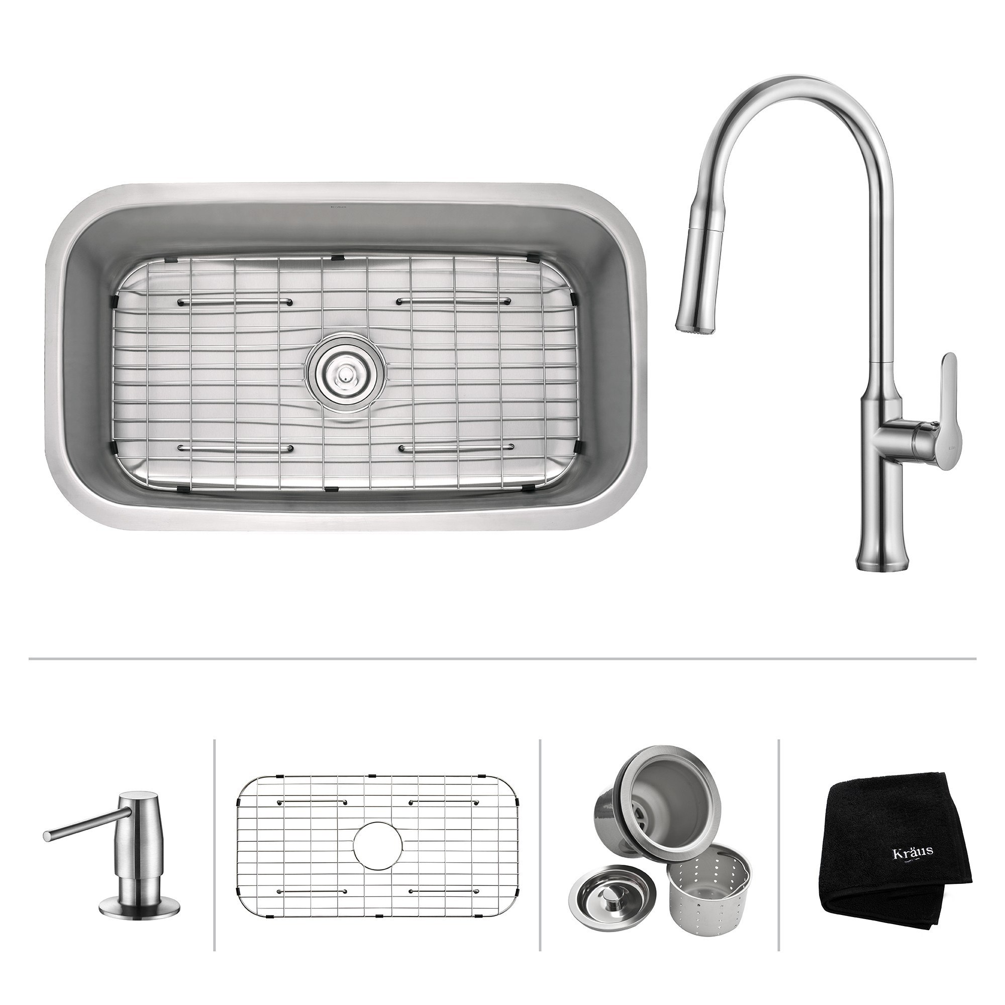 Kraus KBU14-1630-42 Nola 31-1/2 Inch Undermount Single Bowl Stainless Steel Sink with Pull Down Faucet & Soap Dispenser