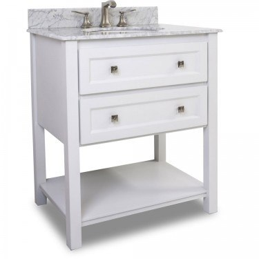 HARDWARE RESOURCES VAN066-T-MW ADLER WHITE VANITY WITH PREASSEMBLED TOP AND BOWL