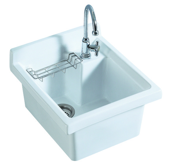 WHITEHAUS WH474-53 VITREOUS CHINA SINGLE BOWL, DROP-IN SINK WITH WIRE BASKET