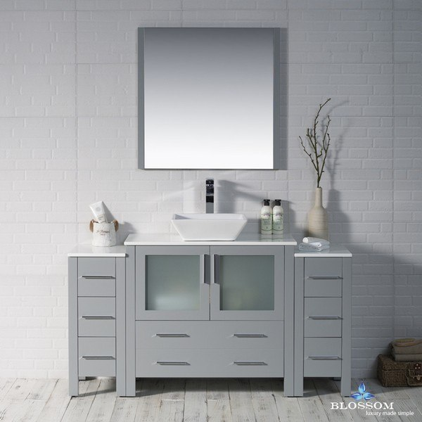BLOSSOM 001 60 15 1616V DSC SYDNEY 60 INCH VANITY SET WITH VESSEL SINK AND DOUBLE SIDE CABINETS IN METAL GREY