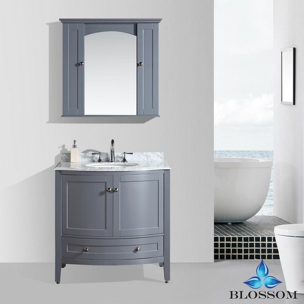 BLOSSOM 002 36 15 ROME 36 INCH VANITY SET WITH MIRROR AND WALL CABINETS IN CHARCOAL GREY