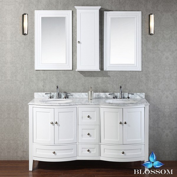 Blossom 002 60 01 Rome 60 Inch Double Vanity Set With Mirror And Wall Cabinets In