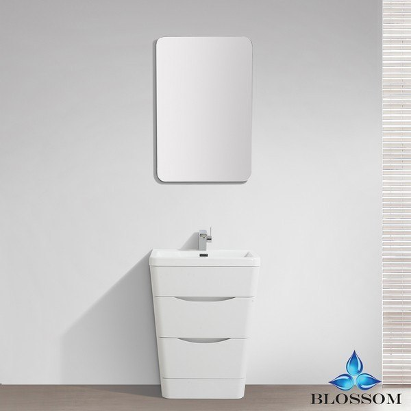 Blossom 006 26 08 Venice 26 Inch Vanity Set With Mirror In White Wood