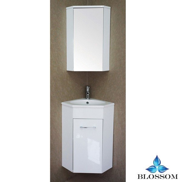 Blossom 013 16 01 Florence 16 Inch Vanity Set With Medicine Cabinet In Glossy White