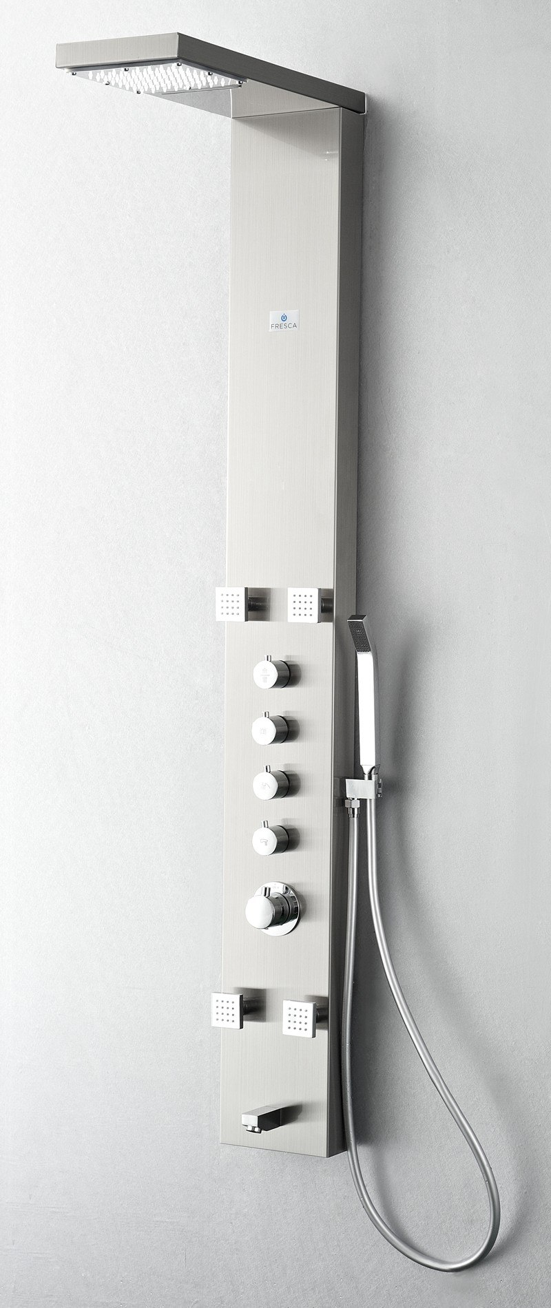fresca fresca bath fresca shower fresca shower panels fresca fresca fsp8006bs verona stainless steel brushed silver thermostatic shower massage panel