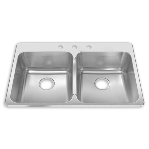 American Standard 15DB.332283 Prevoir 18 Gauge Stainless Steel Drop-In 33-3/8 x 22 Inch 2-Bowl Kitchen Sink