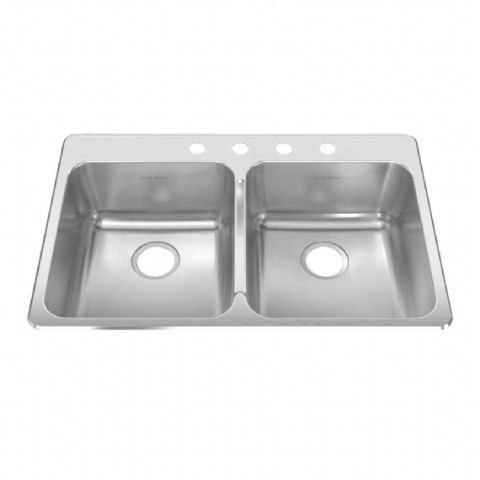 American Standard 15DB.332284 Prevoir 18 Gauge Stainless Steel Drop-In 33-3/8 x 22 Inch 2-Bowl Kitchen Sink