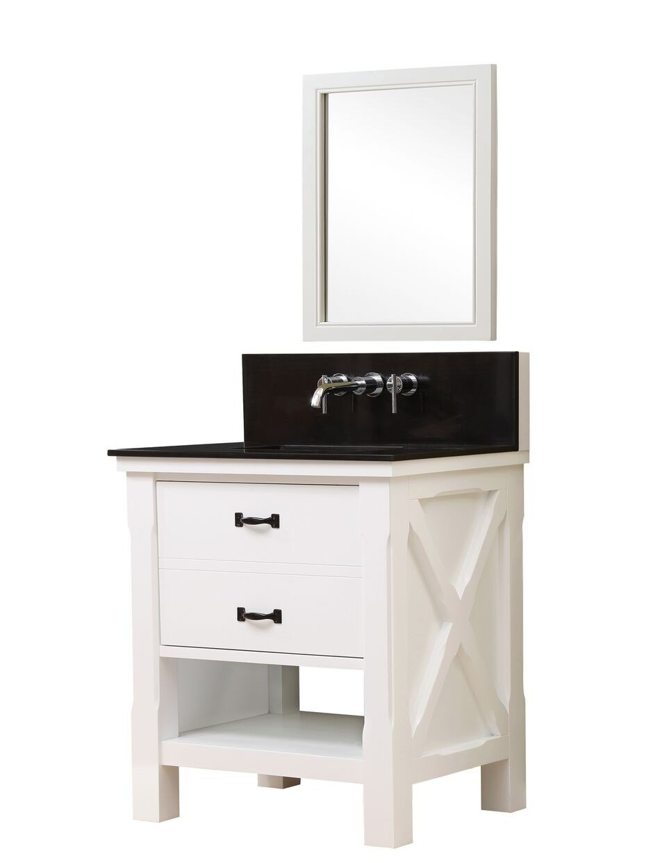 DIRECT VANITY SINK 32S1-WBK-WM-M XTRAORDINARY SPA PREMIUM 32 INCH VANITY IN WHITE WITH BLACK GRANITE TOP AND MIRROR